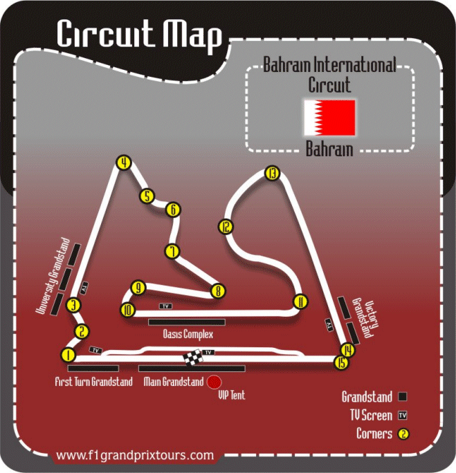 Bahrain F1 Circuit and Grandstand Map