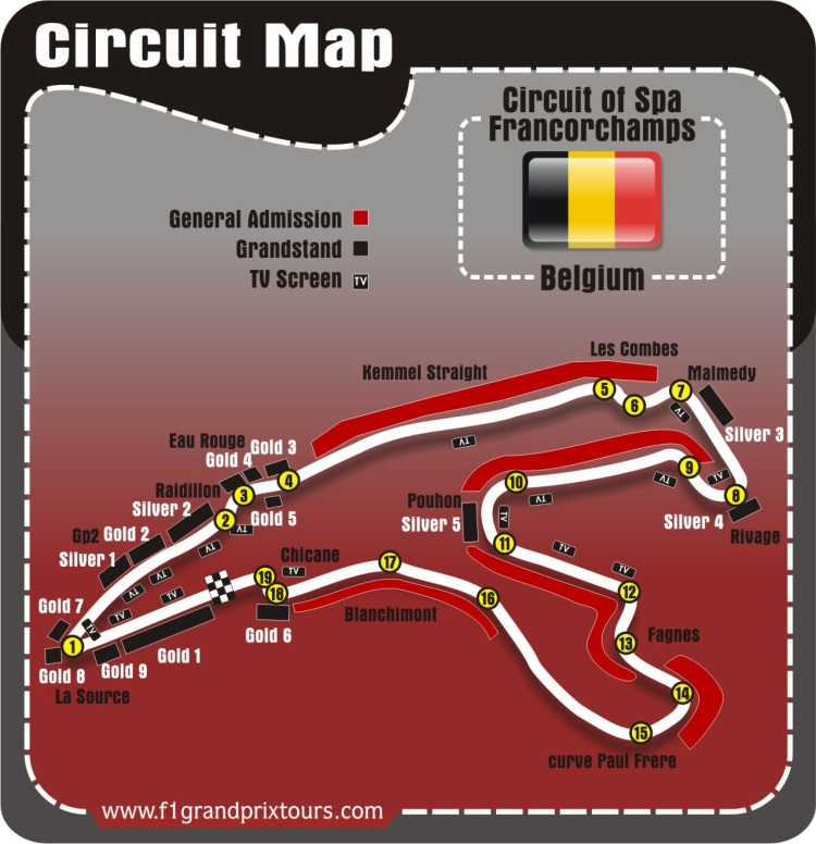 Belgian F1 Circuit and Grandstand Map