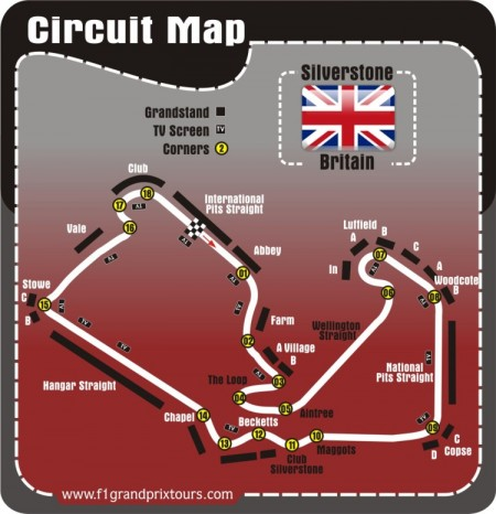 British F1 circuit and Grandstand Map