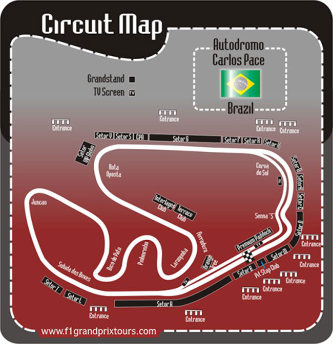 Brazil F1 Circuit and grandstand Map