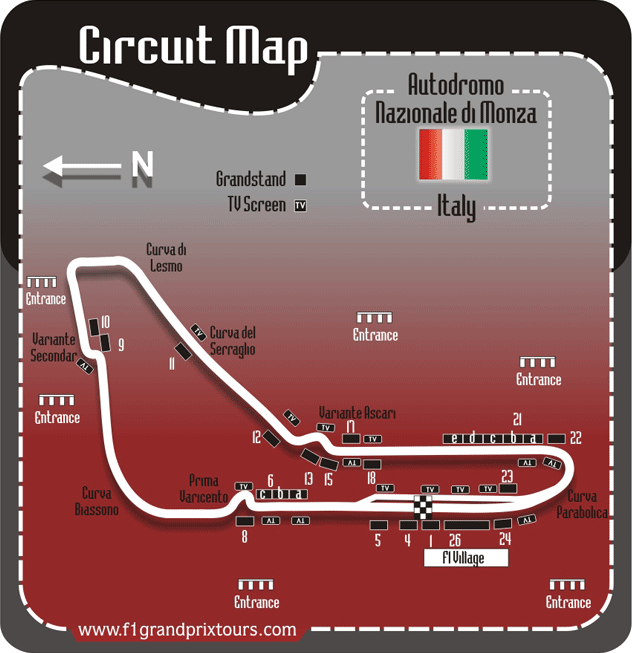 Italian F1 circuit and granstand map