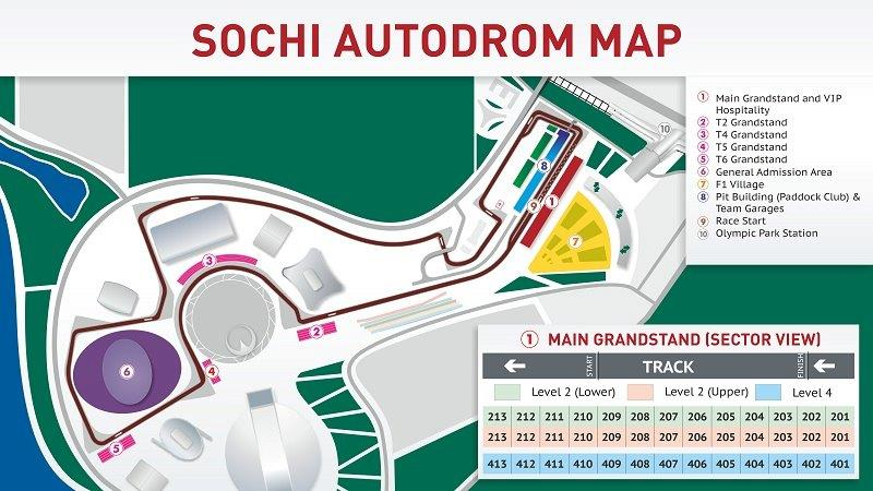 Russia F1 circuit and grandstand map